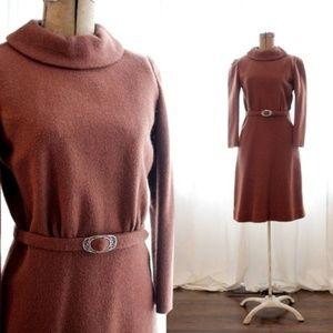 Vintage 1960s brown wool turtleneck cocktail dress